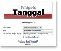 Widgets WordPress untuk menampilkan Tanggal Waktu Indonesia