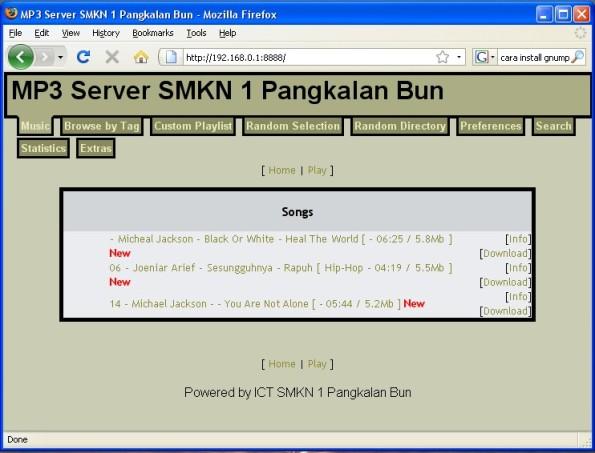MP3 Server dengan menggunakan GNUMP3D